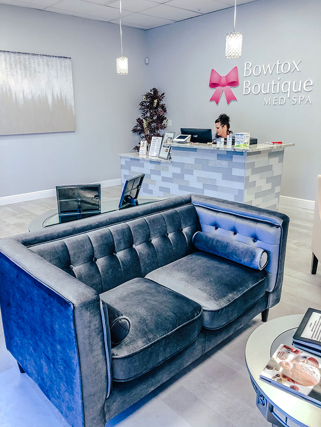 Bowtox Boutique waiting room couch